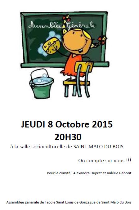 Le Jeudi 8 Octobre à 20h30 c'est l'assemblée générale !!!