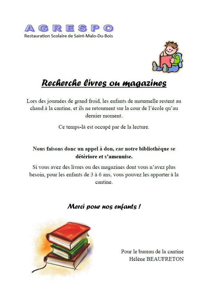 La cantine recherche des livres ou des magasines pour les enfants